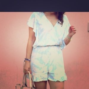 Floral white and blue women's romper